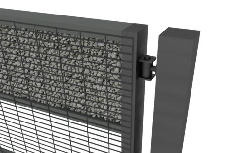 zawias w bramie lub furtce z wypełnieniem gabionowym