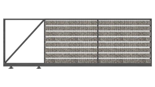 Brama przesuwna LUCCA wypełniona panelem gabionowym, wyposażona w zamek hakowy i chwytak. Porusza się na dwóch wózkach umieszczonych na szynie jezdnej.