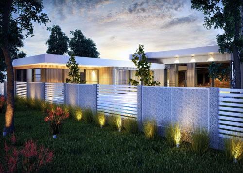 przyklad dobrania rodzajów paneli ogrodzenia w spójną całość gabion palisada nowoczesne