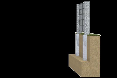 widok z boku fundamentu pod gabion
