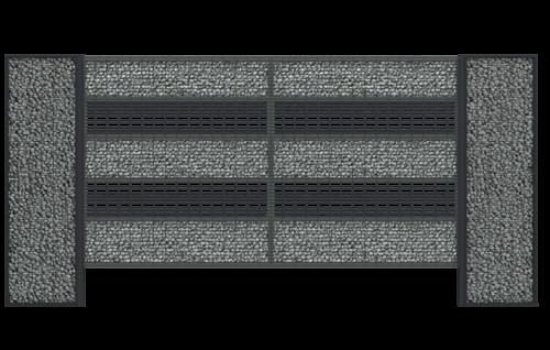 Nowoczesne ogrodzenie gabionowe LUCCA32 zapewnia prywatność oraz naturalnie wkomponowuje się w otoczenie. Ogrodzenie wraz ze słupkami LUCCA SOLID H+ jest łatwe w montażu.