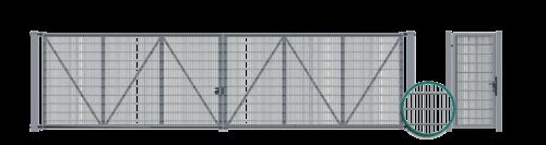 brama dwuskrzydłowa z wypełnieniem w postaci paneli kratowych vega 2d super przykręcanych