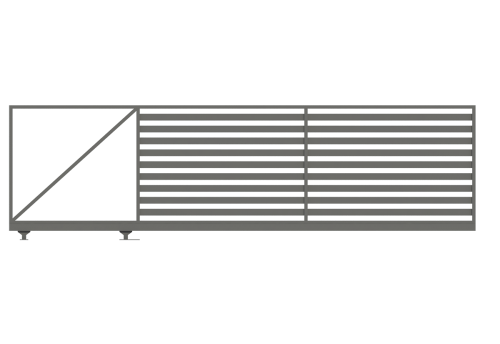 minimalistyczna brama samonośna wypełnienie palisadą bez słupów