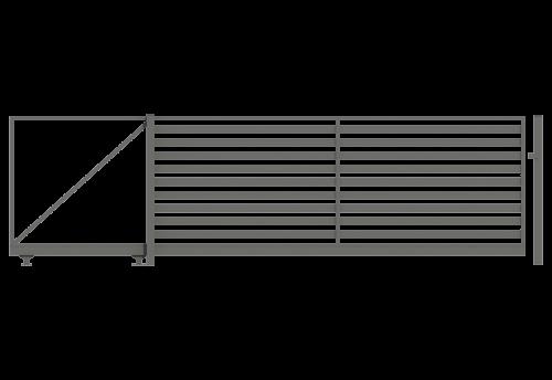 minimalistyczna brama samonośna wypełnienie palisadą ze słupami