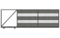 Brama przesuwna LUCCA32 jest wyposażona w zamek hakowy i chwytak, porusza się na dwóch wózkach umieszczonych na szynie jezdnej.