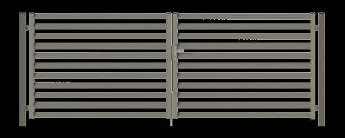 nowoczesna brama dwuskrzydłowa z żaluzją