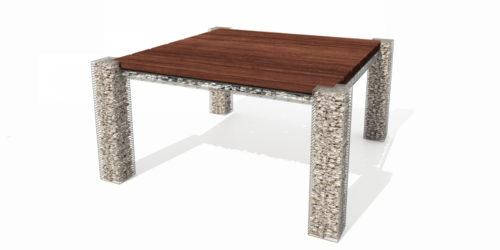 stół ogrodowy kamień drewno