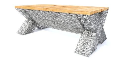 nowoczesne kształty ławka gabion ozdobny jasne drewno