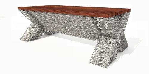 nowoczesne kształty ławka gabion ozdobny