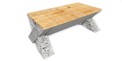 ozdoba ogrodowa w formie ławki z gabionu