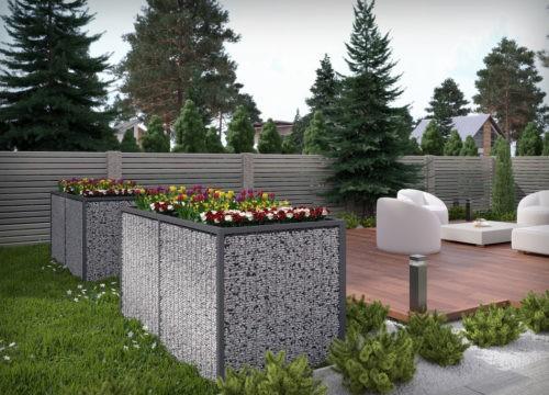 grządka ogrodowa na kwiatki i rośliny z scianami gabionowymi