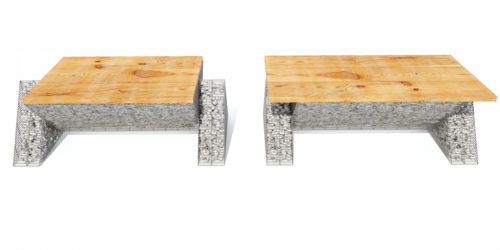 dwie ławy ogrodowe nowoczesne drewno kamień
