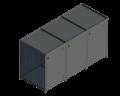 potrójny kubeł śmietnikowy z elementami gabionowymi