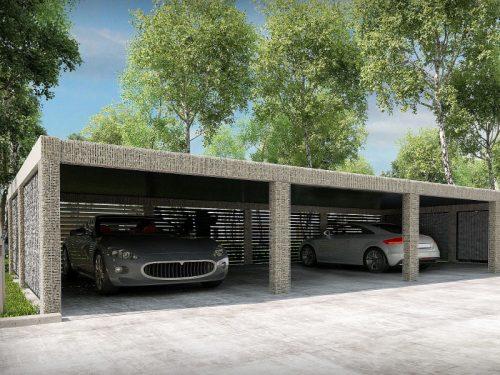 Wiata garażowa przeznaczona dla samochodów. Konstrukcja wypełniona gabionem.