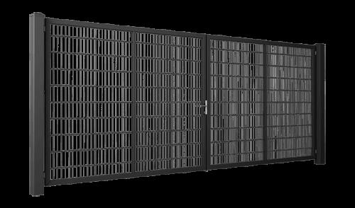 Odporna na korozje brama dwuskrzydłowa Wiśniowski GARDIA wyposażona w rygiel wpuszczany w ziemię LOCINOX